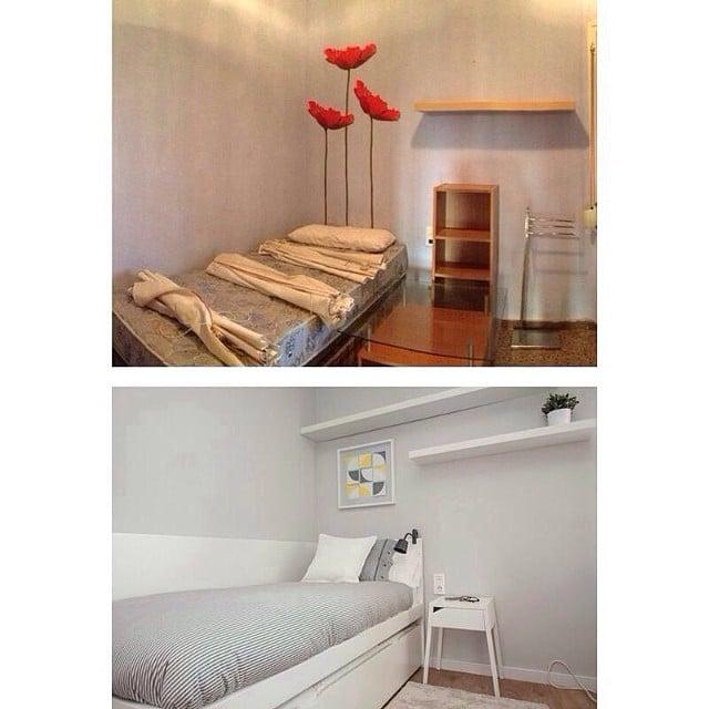 ANTES y DESPUÉS de @iloftyou.Dormitorio del #proyectolescorts.