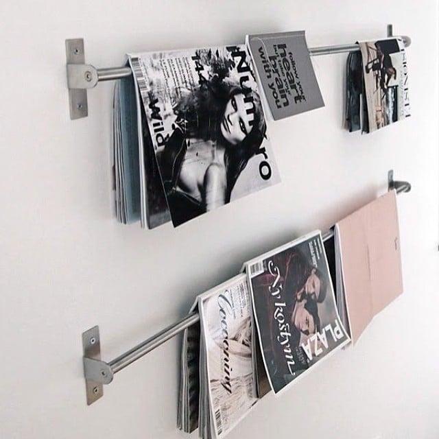 ¿Qué os parece utilizar las barras de cocina #grundtal de #ikea como revisteros?