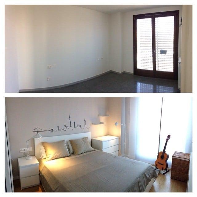 Antes/Después del dormitorio del #proyectoRocBoronat #ikea #ikealover #ikeaaddict #lowcost #interiorista #interiorismo #interiordesign  #malm #tral