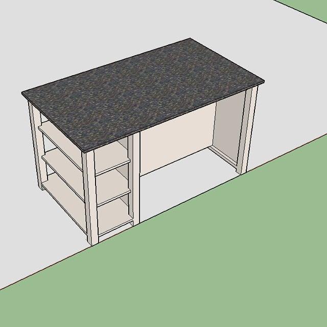 Isla de cocina a medida para el #proyectoMasNou  Almacenaje lateral y espacio para 4 taburetes. Amplia zona extra de trabajo.
